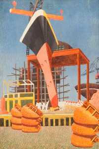 Edward Alexander Wadsworth - Ship Building