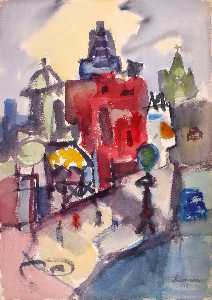 Jacob Kainen - Street with Red House