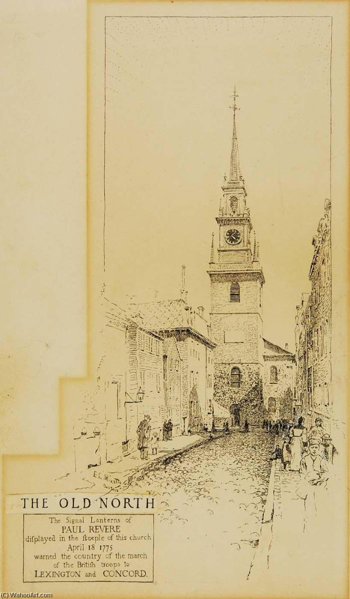 Boston North Church, Ink by Ernest Clifford Peixotto (1869-1940, United States)