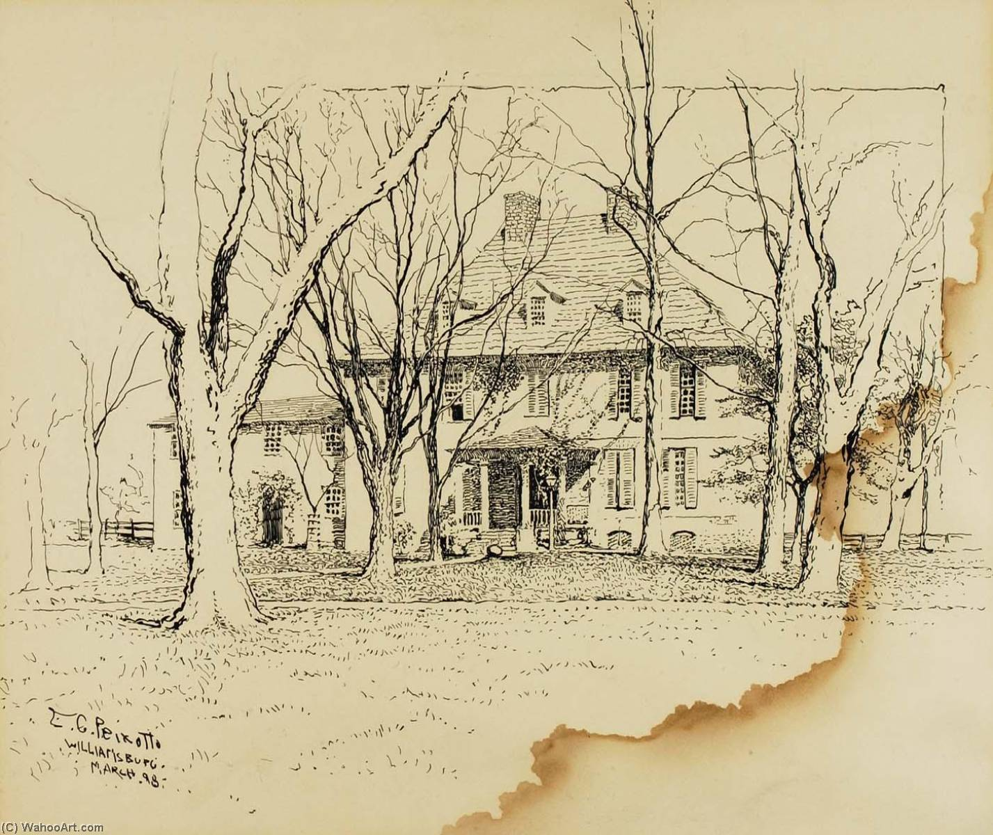 Home of the President of William and Mary College, Wash by Ernest Clifford Peixotto (1869-1940, United States)