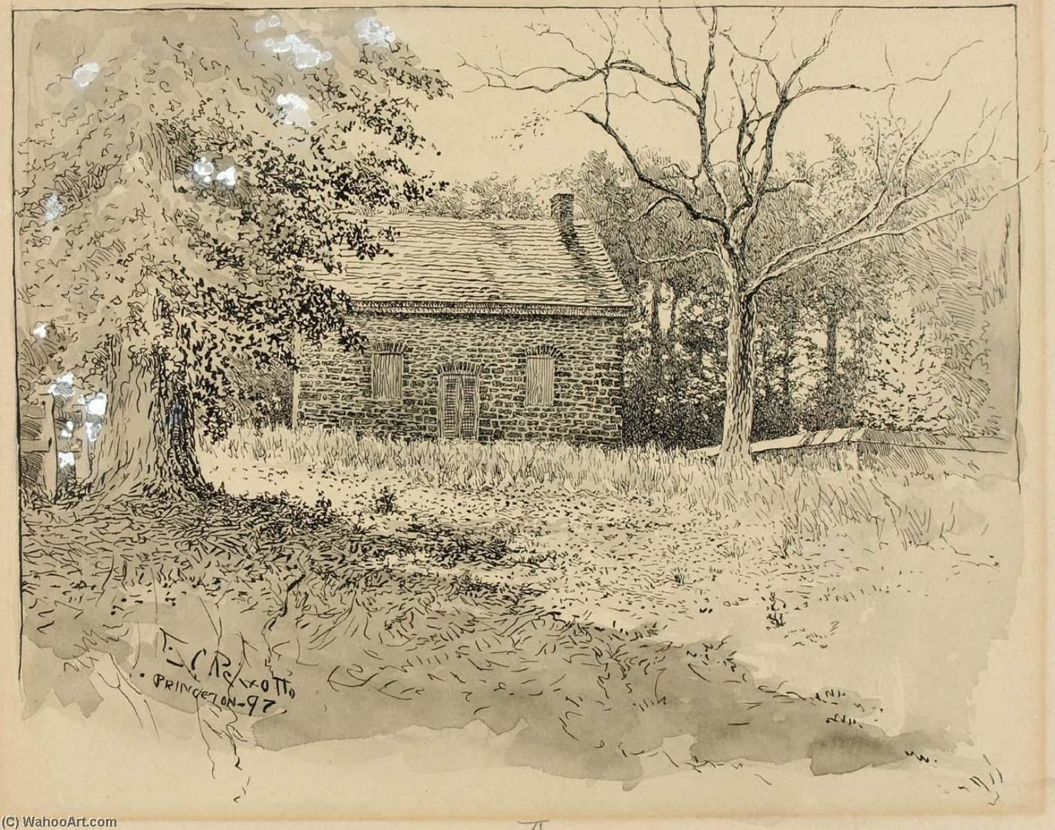 Princeton Quaker Meeting House, Ink by Ernest Clifford Peixotto (1869-1940, United States)