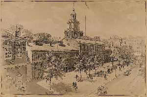 Ernest Clifford Peixotto - Philadelphia, Independence Hall, Chestnut Street