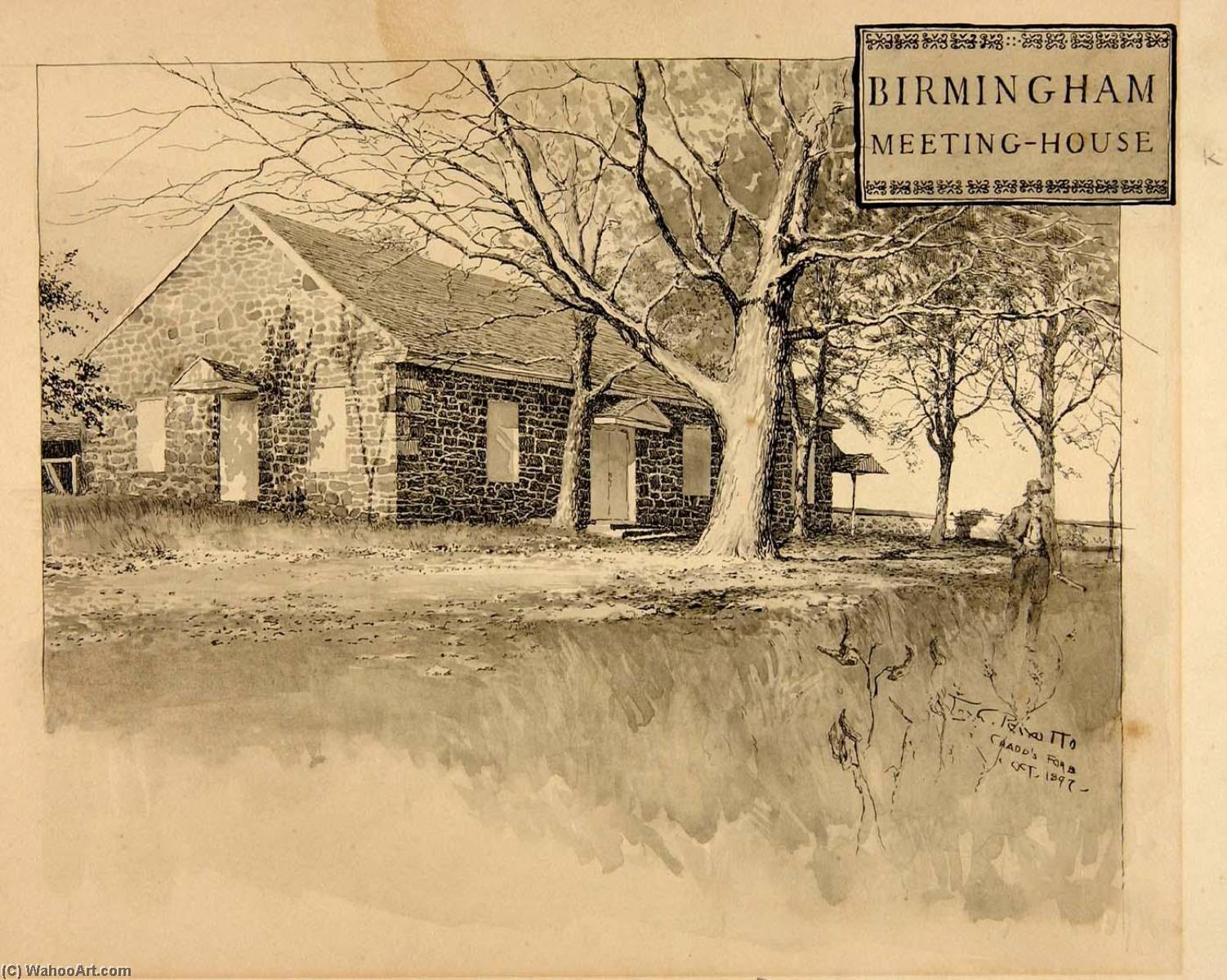 Birmingham Meeting House, Wash by Ernest Clifford Peixotto (1869-1940, United States)