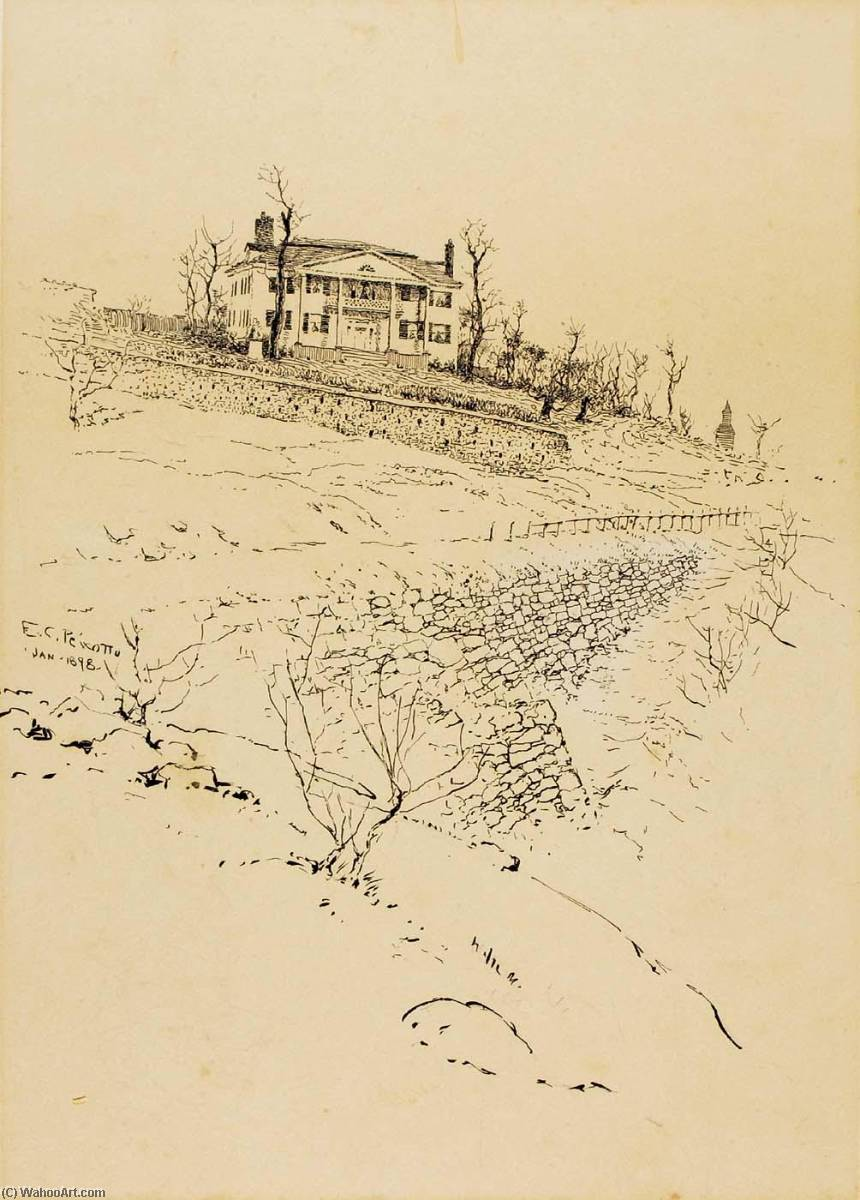 Jumel Mansion, New York, Ink by Ernest Clifford Peixotto (1869-1940, United States)