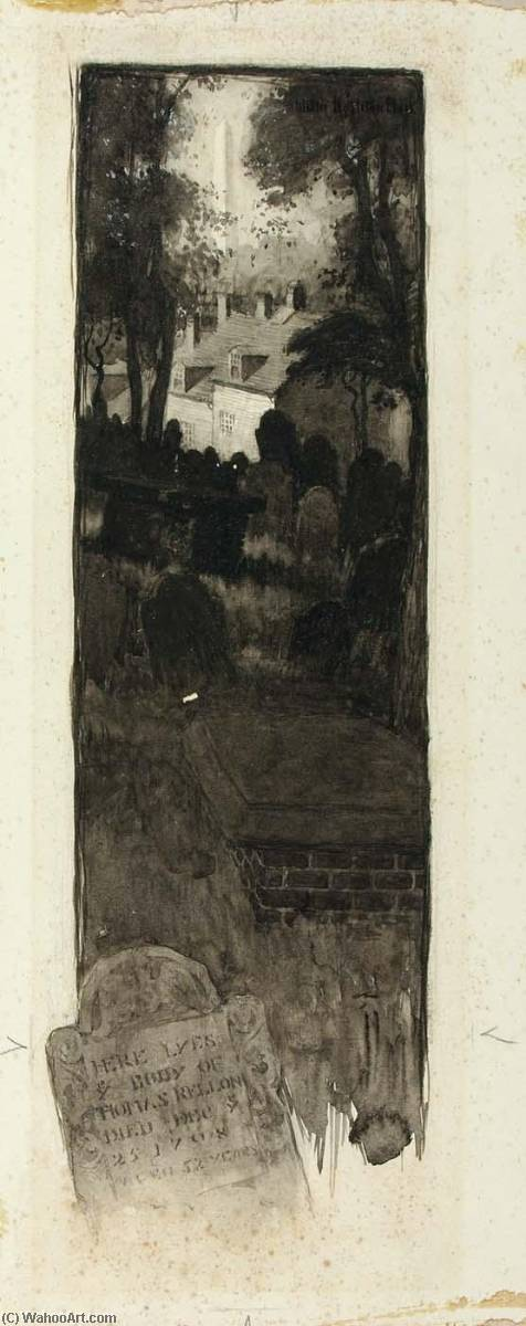 Graveyard Scene by Ernest Clifford Peixotto (1869-1940, United States) | Painting Copy | WahooArt.com