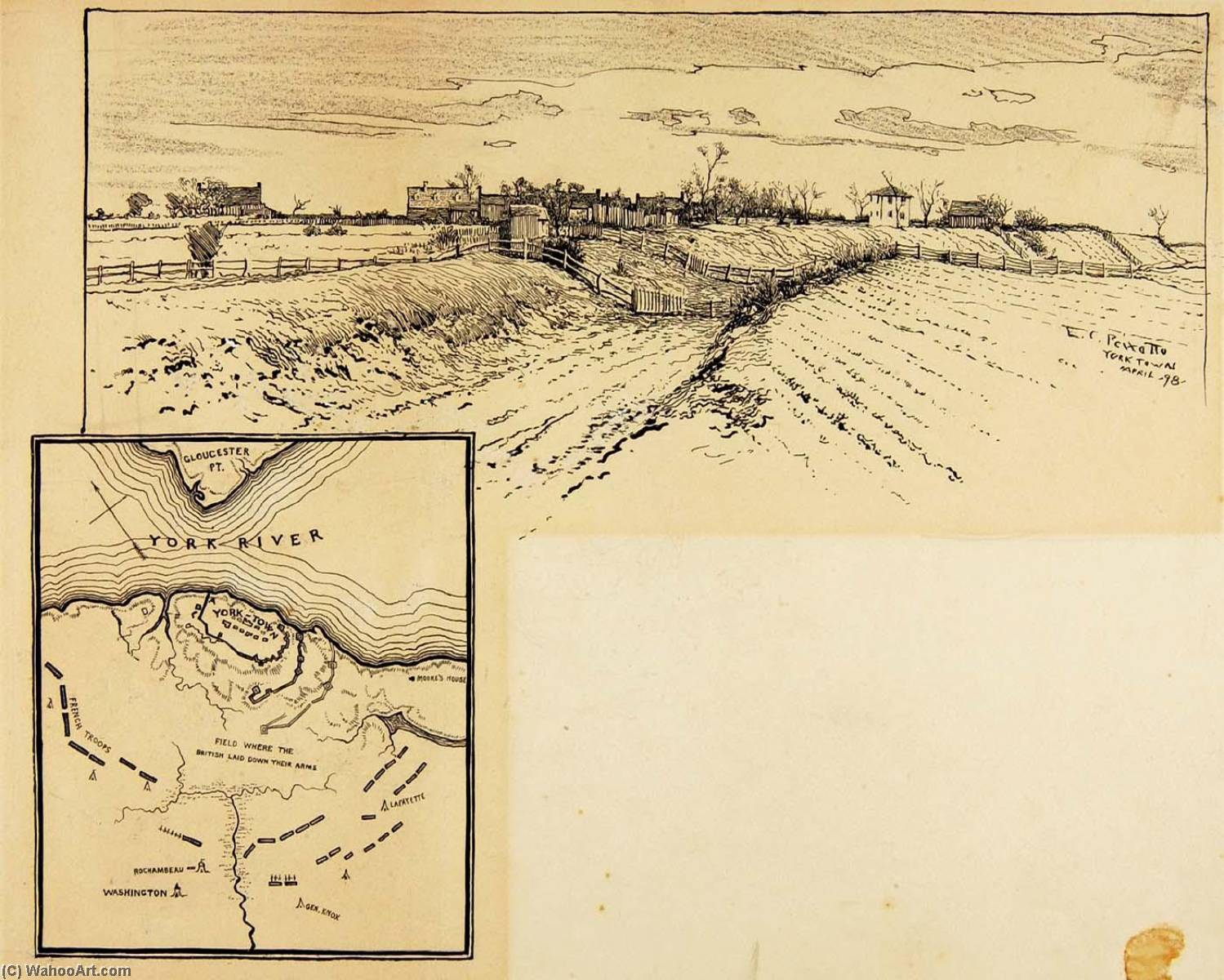 Present Appearance of British Entrenchment, Yorktown, Ink by Ernest Clifford Peixotto (1869-1940, United States)