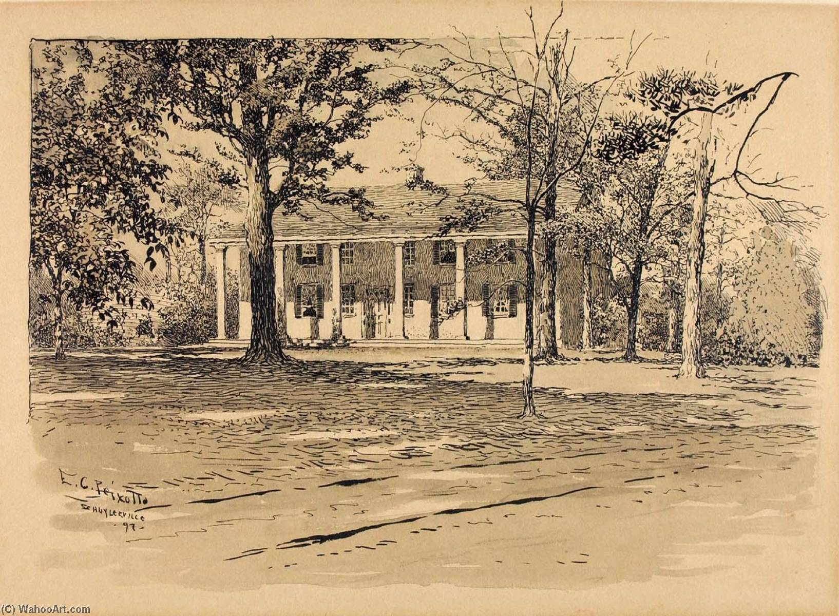 Saratoga. General Schuyler's House, Ink by Ernest Clifford Peixotto (1869-1940, United States)