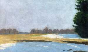 Hans Emmenegger - Landscape with Snow Remainders