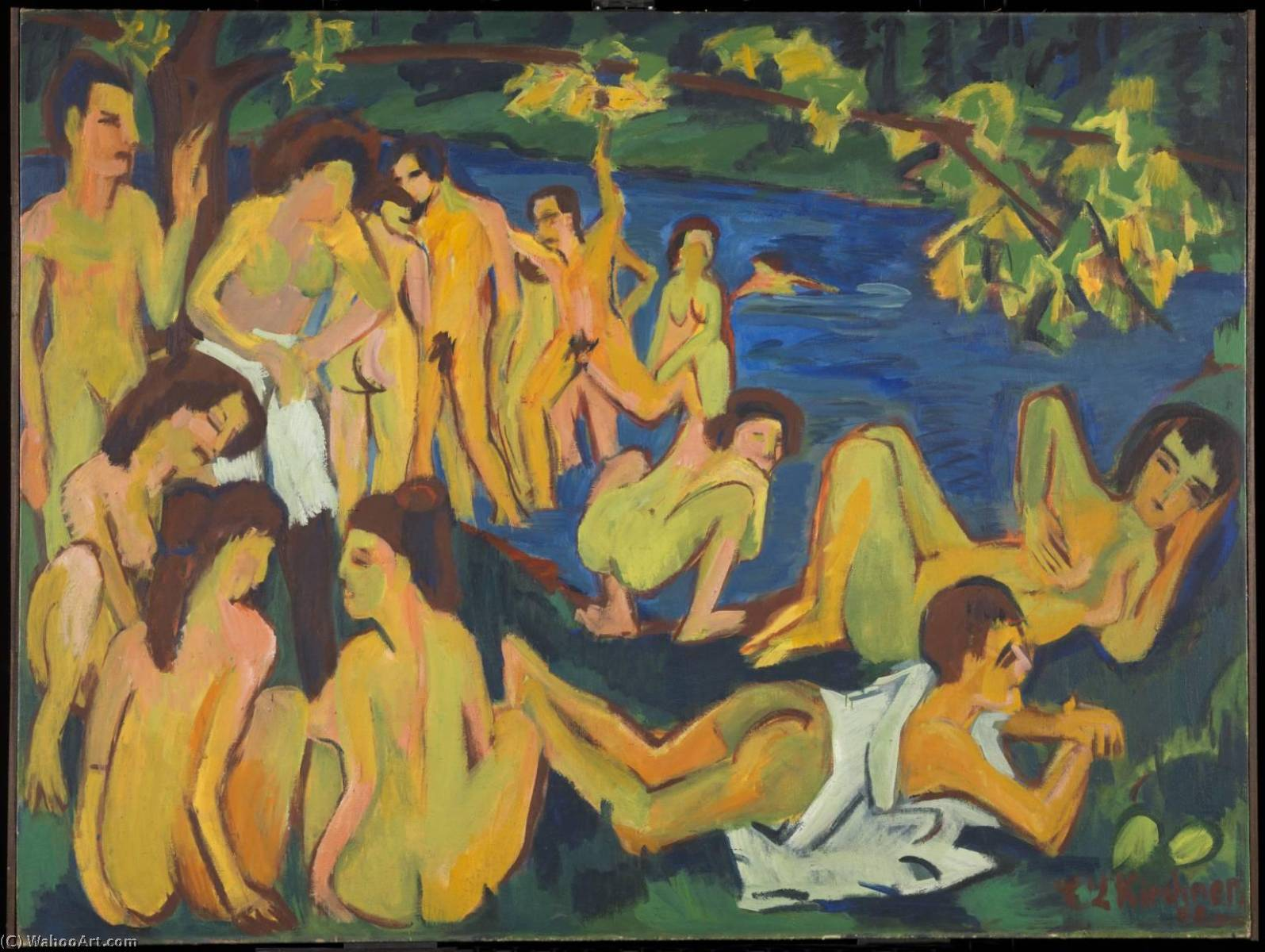 Bathers at Moritzburg, Canvas by Ernst Ludwig Kirchner (1880-1938, Germany)