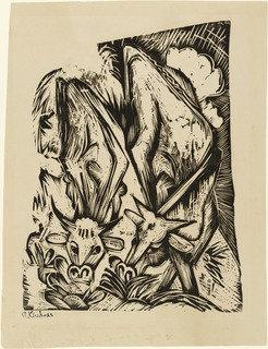 Two Grazing Cows (Zwei grasende Kühe), Wood by Ernst Ludwig Kirchner (1880-1938, Germany)