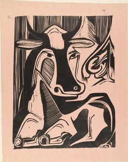Large Cow Reclining (Grosse liegende Kuh), Wood by Ernst Ludwig Kirchner (1880-1938, Germany)