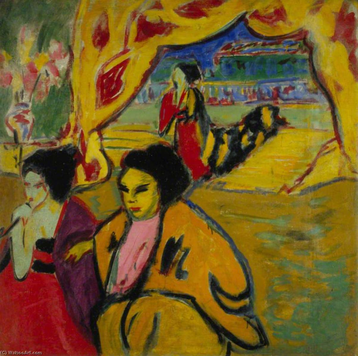 Japanisches Theater (Japanese Theatre), 1909 by Ernst Ludwig Kirchner (1880-1938, Germany) | WahooArt.com