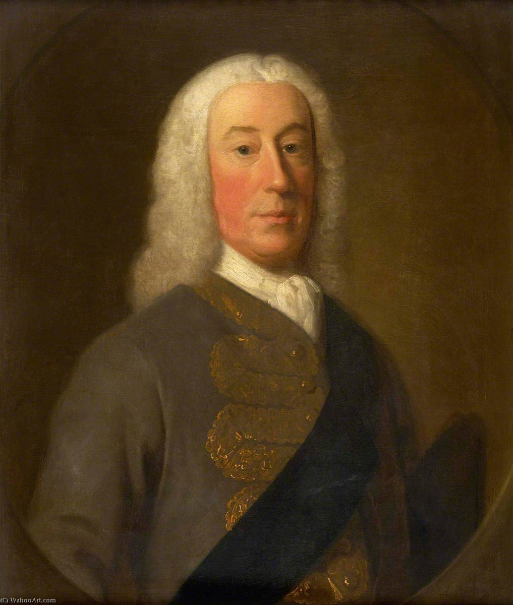 James Murray (1690–1764), 2nd Duke of Atholl, 1743 by Allan Ramsay (1713-1784, Scotland) | Museum Quality Copies Allan Ramsay | WahooArt.com