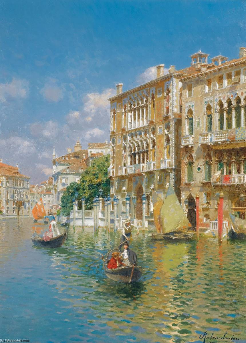 Gondoliers in front of the Palazzo Cavalli Franchetti, Venice by Rubens Santoro | Oil Painting | WahooArt.com