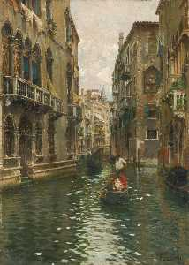 Rubens Santoro - A FAMILY OUTING ON A VENETIAN CANAL