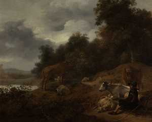 Nicolaes Berchem - Landscape with Herdsman and Cattle