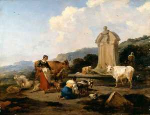 Nicolaes Berchem - Roman Fountain with Cattle and Figures (Le Midi)
