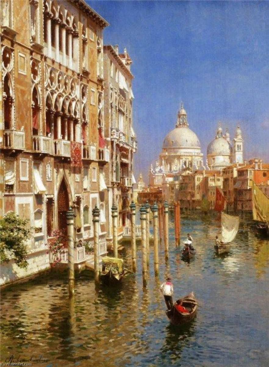 The Grand Canal, Venice by Rubens Santoro | Oil Painting | WahooArt.com