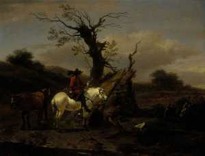 Nicolaes Berchem - The Bird Trap Encampment with a Figure on a White Horse
