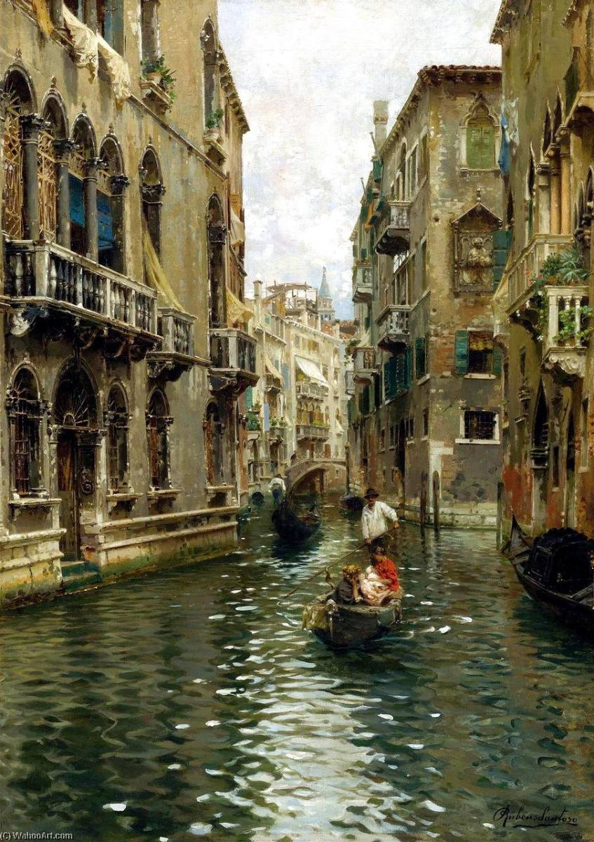 A Family Outing on a Venetian Canal by Rubens Santoro | Oil Painting | WahooArt.com