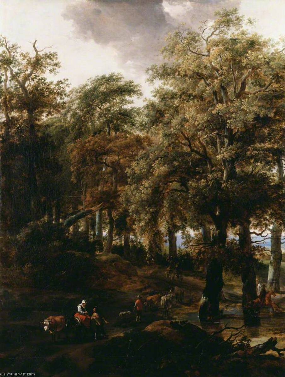 A Road through a Wood, 1640 by Nicolaes Berchem (1620-1683, Netherlands) | Museum Art Reproductions Nicolaes Berchem | WahooArt.com