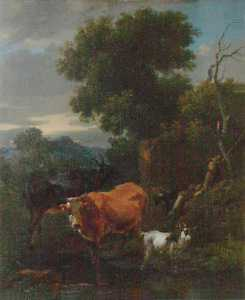 Nicolaes Berchem - Cattle in a Stream, with a Herd Boy Resting