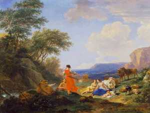 Order Art Reproduction : The Infant Jupiter with the Nymphs on Mount Ida, 1650 by Nicolaes Berchem (1620-1683, Netherlands) | WahooArt.com