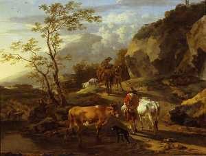 Nicolaes Berchem - Herdsfolk Retiring from a Watering Place at Eventide