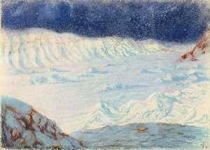 Frank Wilbert Stokes - Moonlight Gold Head of Bowdoin Bay, Greenland 1894