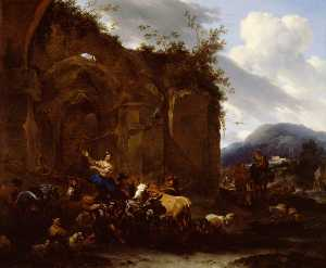 Nicolaes Berchem - A Farrier and Peasants near Roman Ruins