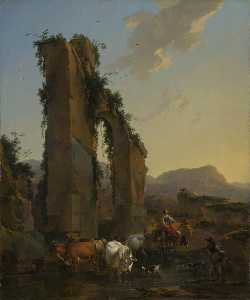 Nicolaes Berchem - Peasants with Four Oxen and a Goat at a Ford by a Ruined Aqueduct