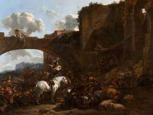 Nicolaes Berchem - A Country Gathering by a Bridge