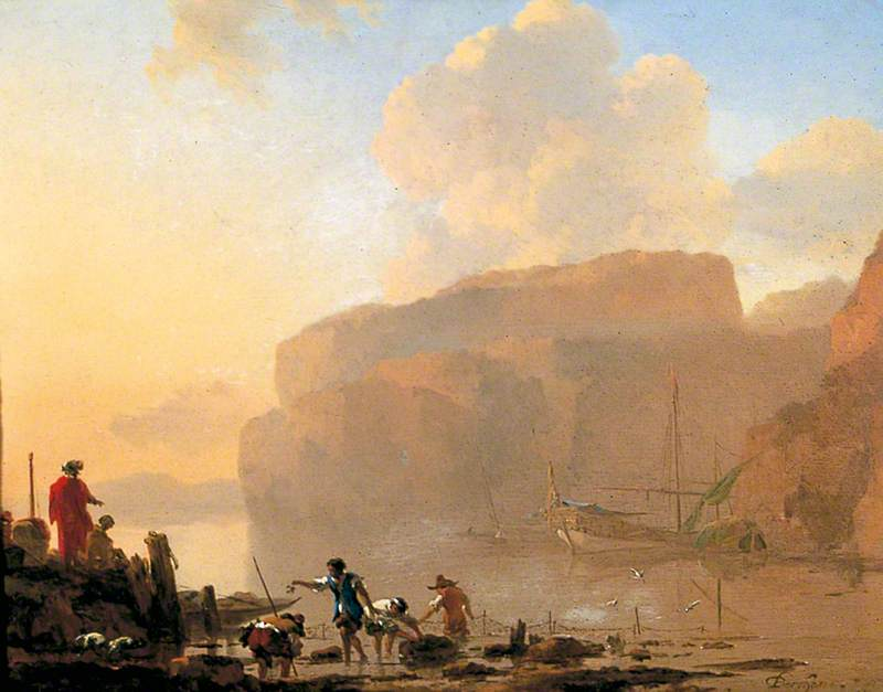 Coastal Scene with Crab Catchers, 1658 by Nicolaes Berchem (1620-1683, Netherlands) | Painting Copy | WahooArt.com