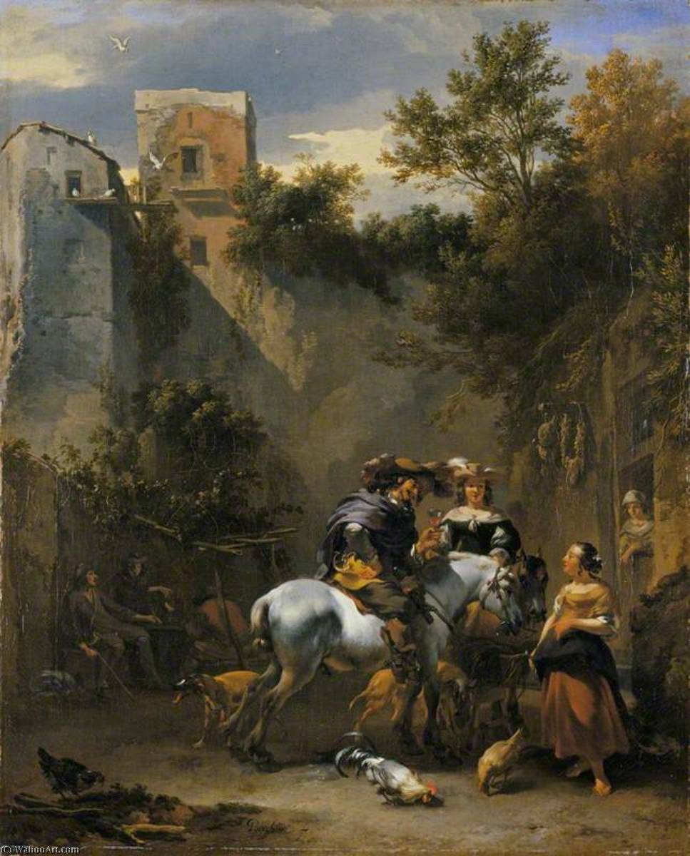 Halt at an Inn, 1670 by Nicolaes Berchem (1620-1683, Netherlands) | Museum Quality Reproductions | WahooArt.com