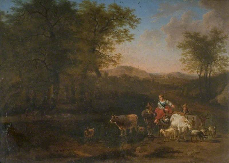 Pastoral Landscape with Figures by Nicolaes Berchem (1620-1683, Netherlands) | Famous Paintings Reproductions | WahooArt.com