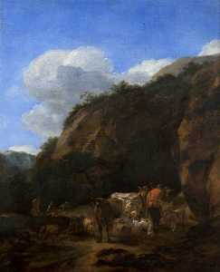 Nicolaes Berchem - A Hilly Landscape with Herdsmen, Cattle and Sheep