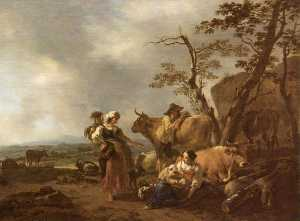 Nicolaes Berchem - Pastoral Scene with Figures and Animals