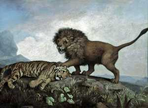 George Stubbs - A Lion and Tiger