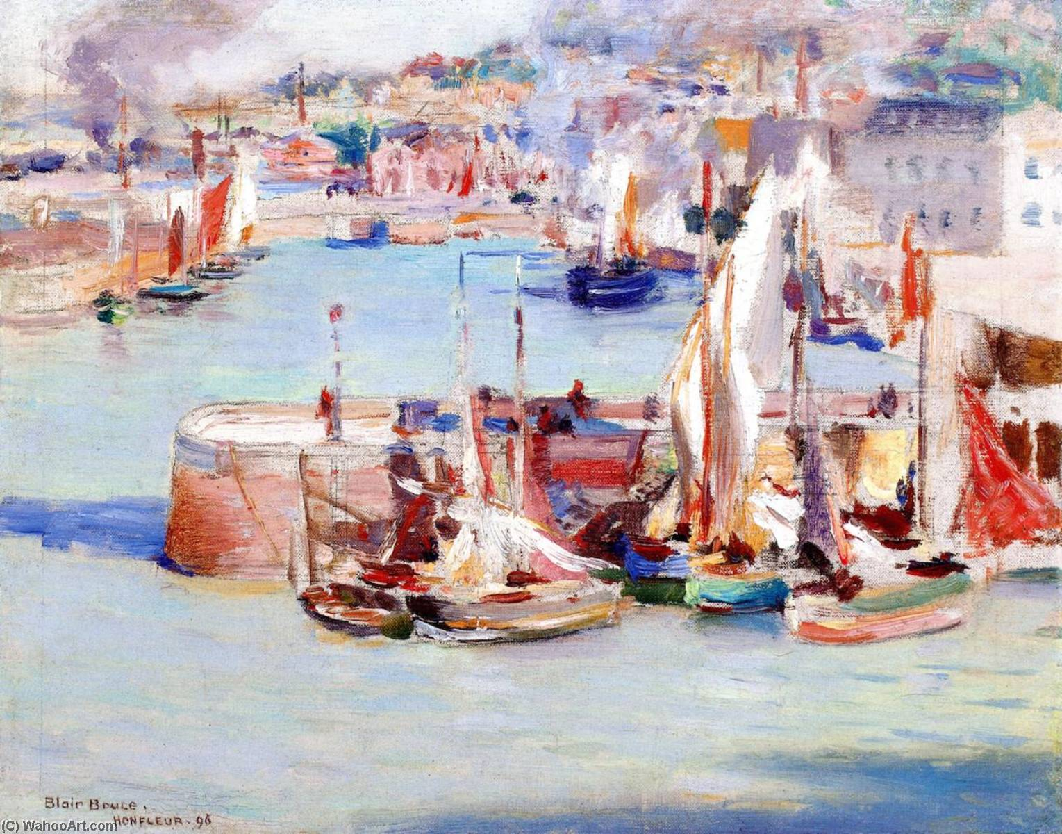 Honfleur Harbor, 1896 by William Blair Bruce (1859-1906, Canada) | Famous Paintings Reproductions | WahooArt.com