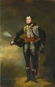 Buy Museum Art Reproductions | Lieutenant John James Douglas (later Captain Sir John James Scott Douglas, Bt) (1792–1836), 15th (or The King's) Regiment of (Light) Dragoons (Hussars), c.1819, 1823 by Henry Raeburn Dobson | WahooArt.com
