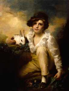 Henry Raeburn Dobson - Boy and Rabbit
