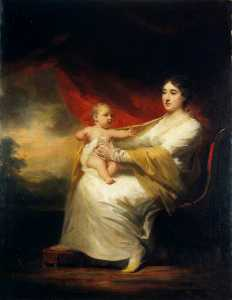 Henry Raeburn Dobson - Charlotte Hall (1812–1894), Lady Hume Campbell of Marchmont, and her Son, Sir Hugh Hume Campbell, 7th Baronet of Marchmont