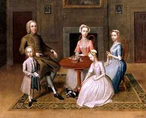 Buy Museum Art Reproductions | Group Portrait (possibly of the Brewster Family), in a Domestic Interior, 1736 by Thomas Bardwell | WahooArt.com
