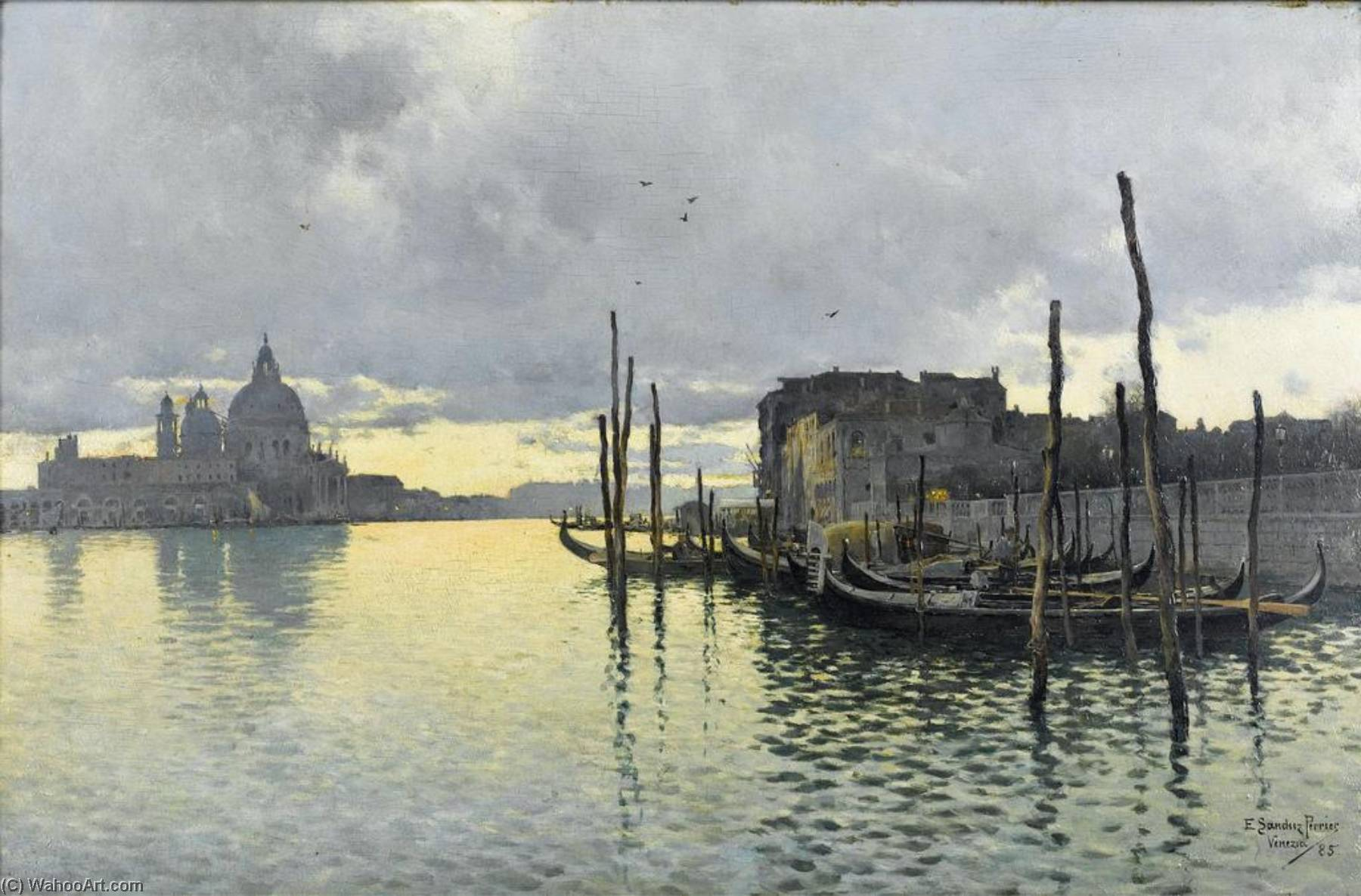 Evening, Looking Towards the Grand Canal with Santa Maria dells Salute in the Distance, Oil On Panel by Emilio Sanchez-Perrier (1855-1907, Spain)