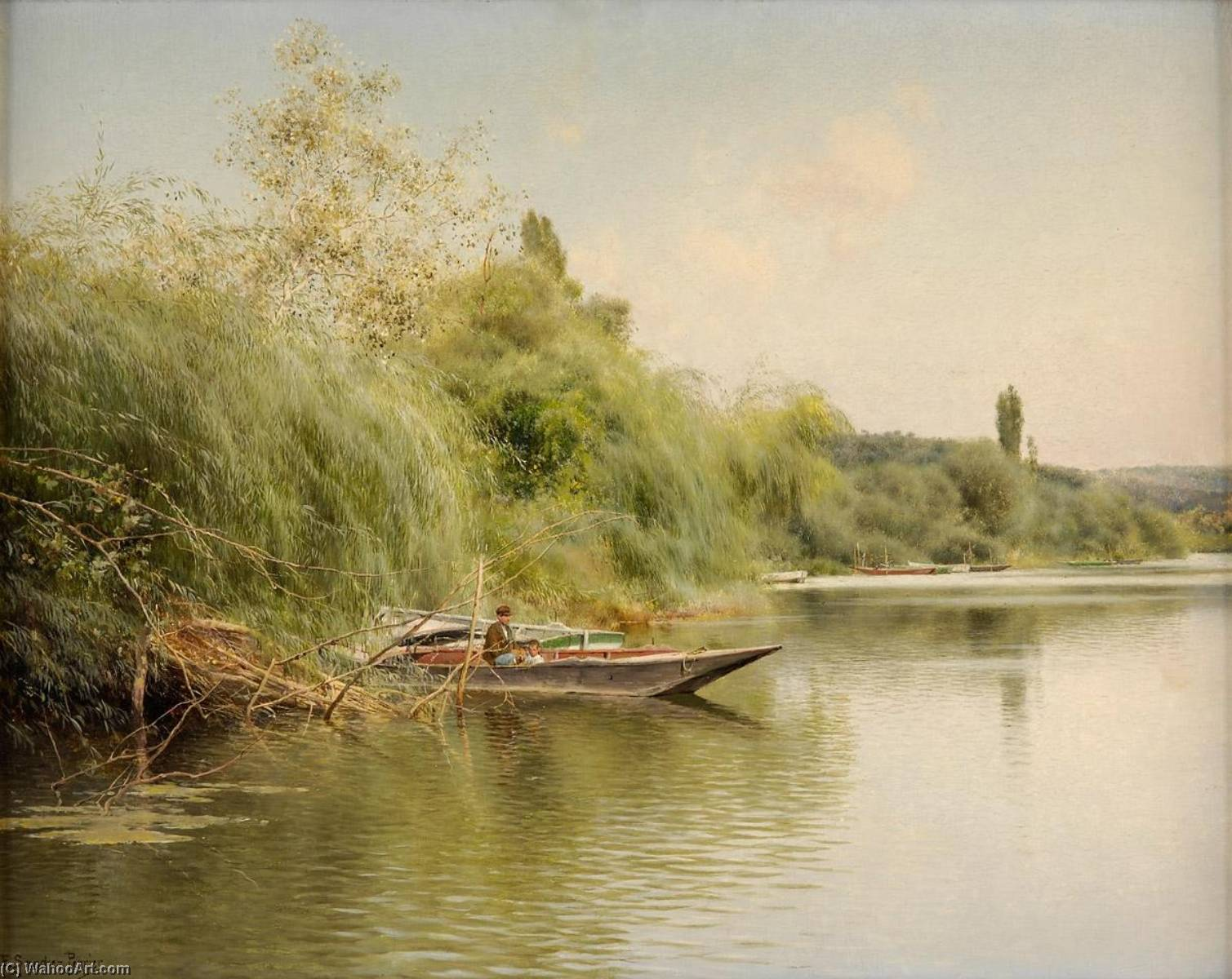Fisherman and His Son in a Boat by Emilio Sanchez-Perrier (1855-1907, Spain)