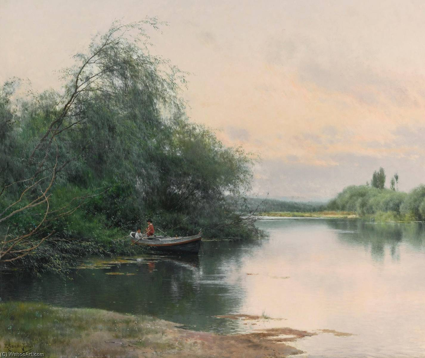 A quiet afternoon on the river, Oil On Panel by Emilio Sanchez-Perrier (1855-1907, Spain)