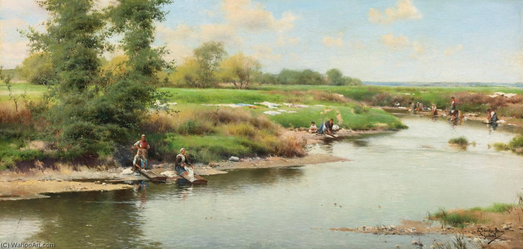 Washerwomen at the Edge of the River, Guillena by Emilio Sanchez-Perrier (1855-1907, Spain) | Museum Quality Reproductions | WahooArt.com
