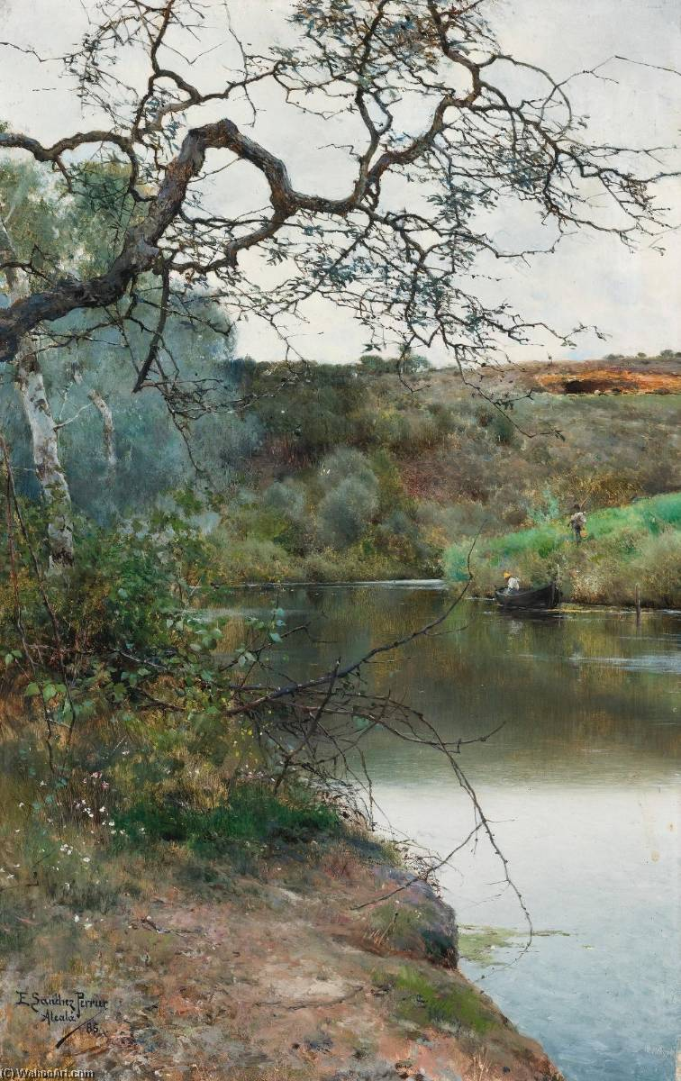Boating along a Quiet River, Acala, Oil On Panel by Emilio Sanchez-Perrier (1855-1907, Spain)