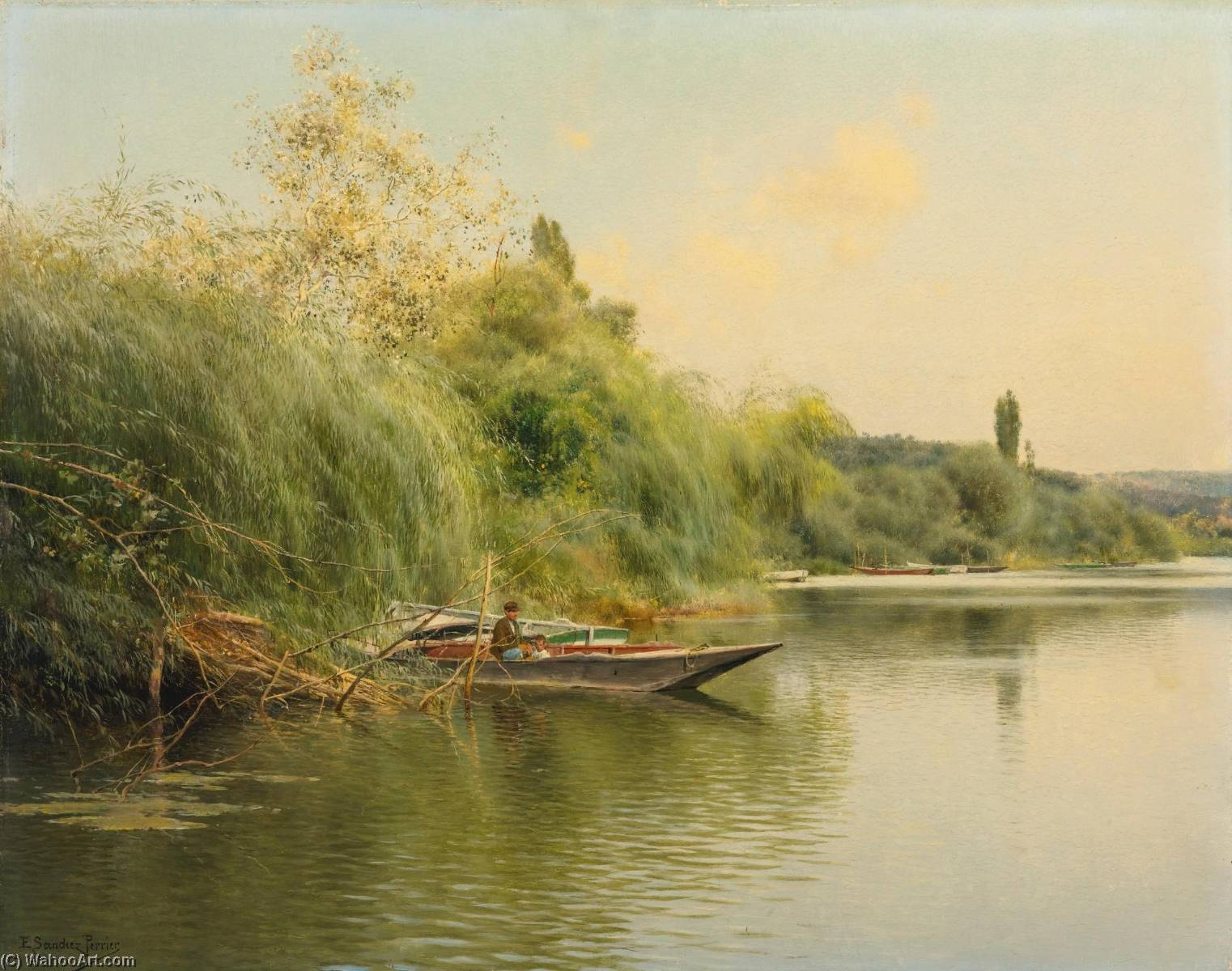 At the edge of the river, Oil On Panel by Emilio Sanchez-Perrier (1855-1907, Spain)
