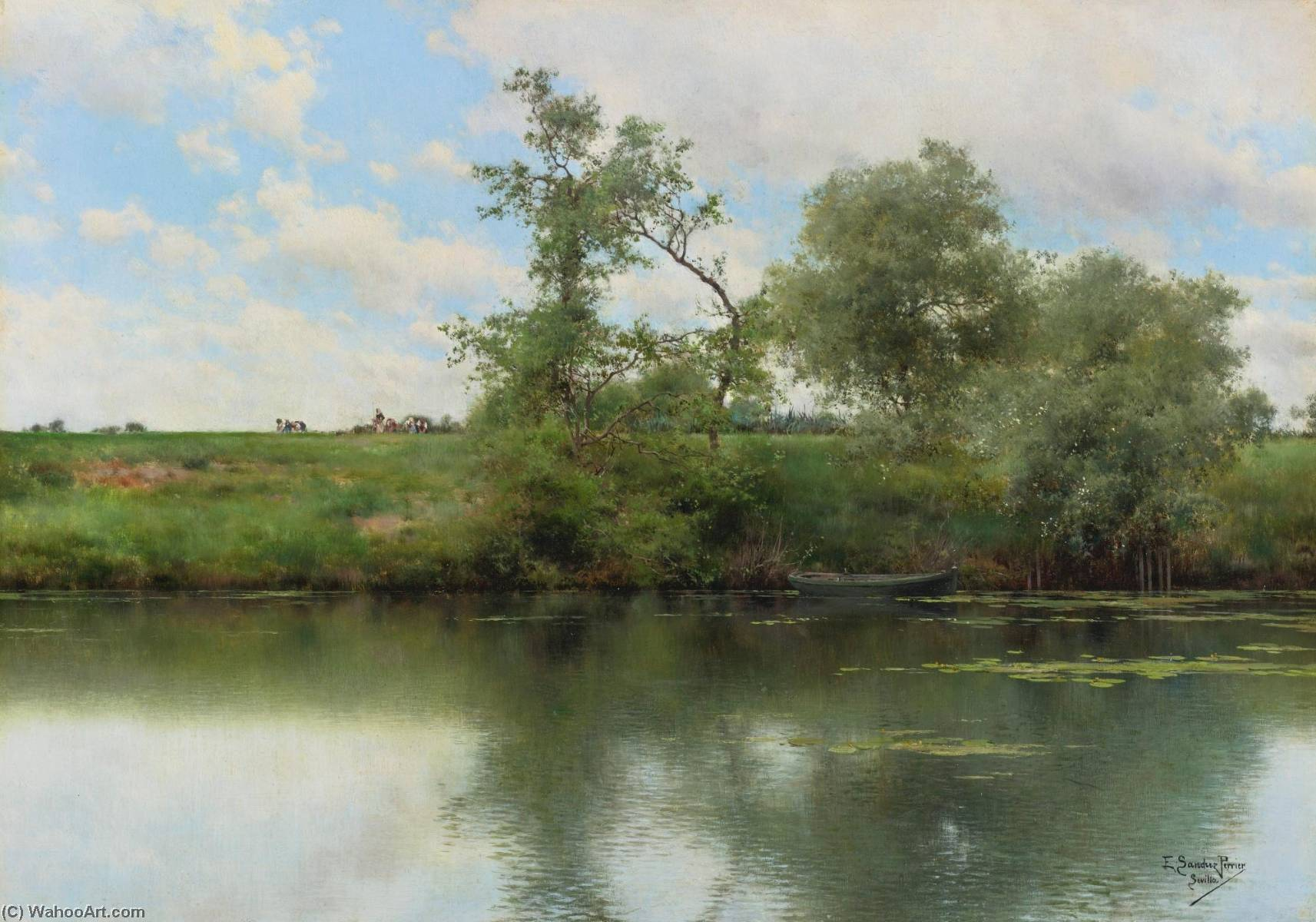 An Afternooon on the River, Seville, Oil On Panel by Emilio Sanchez-Perrier (1855-1907, Spain)